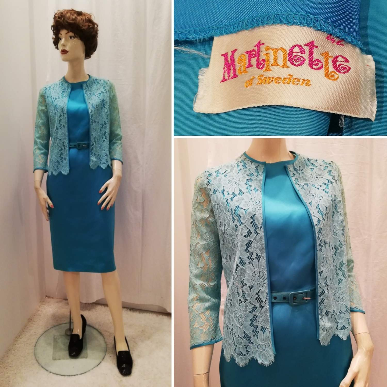 Vintage retro turkos klänning duch.. (379959424) ᐈ
