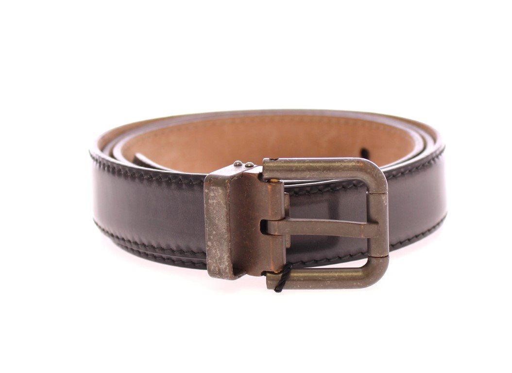 Gray Leather Logo Belt Belt Size: 95 cm / 38 Inches
