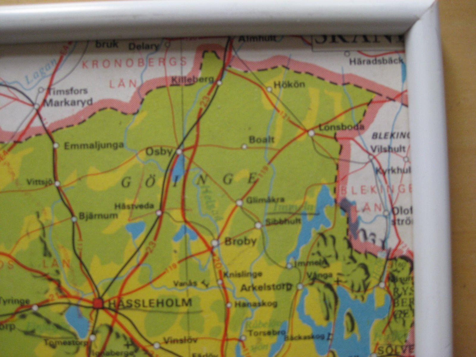 Karta Blekinge Skane.Skolplansch Karta Skane Landskap 331631195 ᐈ Kop Pa Tradera