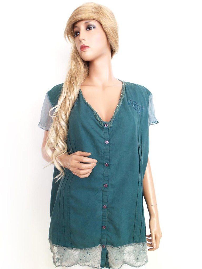 Pas Skjorta Kortärmad Storlek 52 Smaragd Spets