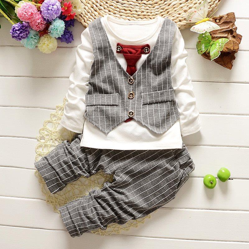 00ba3747e90a 12-18 månader 1 set Barnkläder barn killar bröllopsfest kostym topp + byxor  tuxe ...