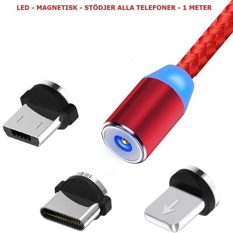 Magnetisk 3 i 1 LED telefon laddare (röd)