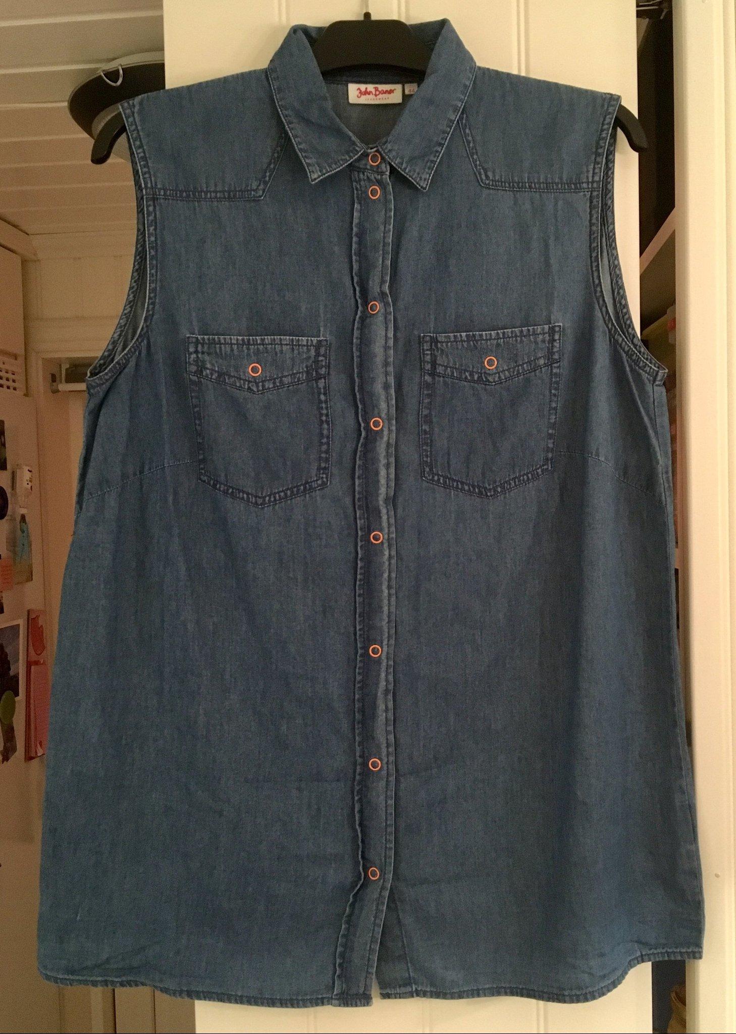 f5a4de569753 Jeansväst skjorta blå stl 44, se mått!! John Baner Bonprix BPC jeans väst  ...