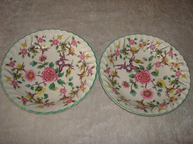 "Staffordshire "" CHINESE ROSE"" Old Foley  6 st Djupa Tallrikar D 20 cm"