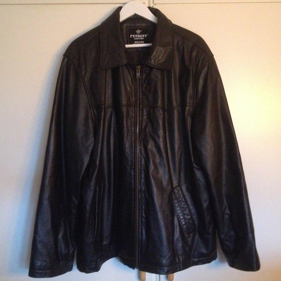 Jacka i äkta läder skinn svart stl. 2XL Härr .. (372010909
