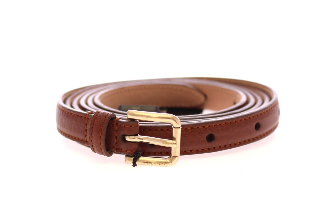 Dolce & Gabbana - Brown Leather Skinny Belt