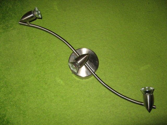 IKEA :Taklampa i borstat metall med tre spotlights ( 3x35W ). Utrop 10 kr !