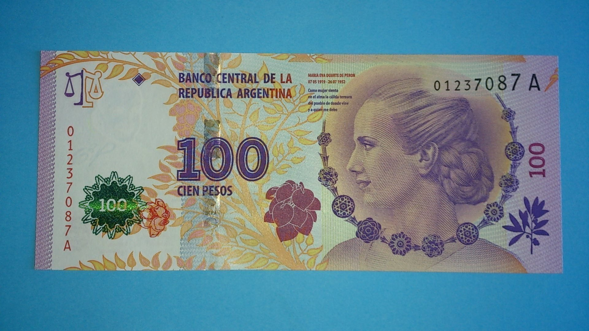 Argentina ¤ P358a ¤ 100 Pesos ¤ 2012 ¤ Suffix A (first issue diff. from B-XX)