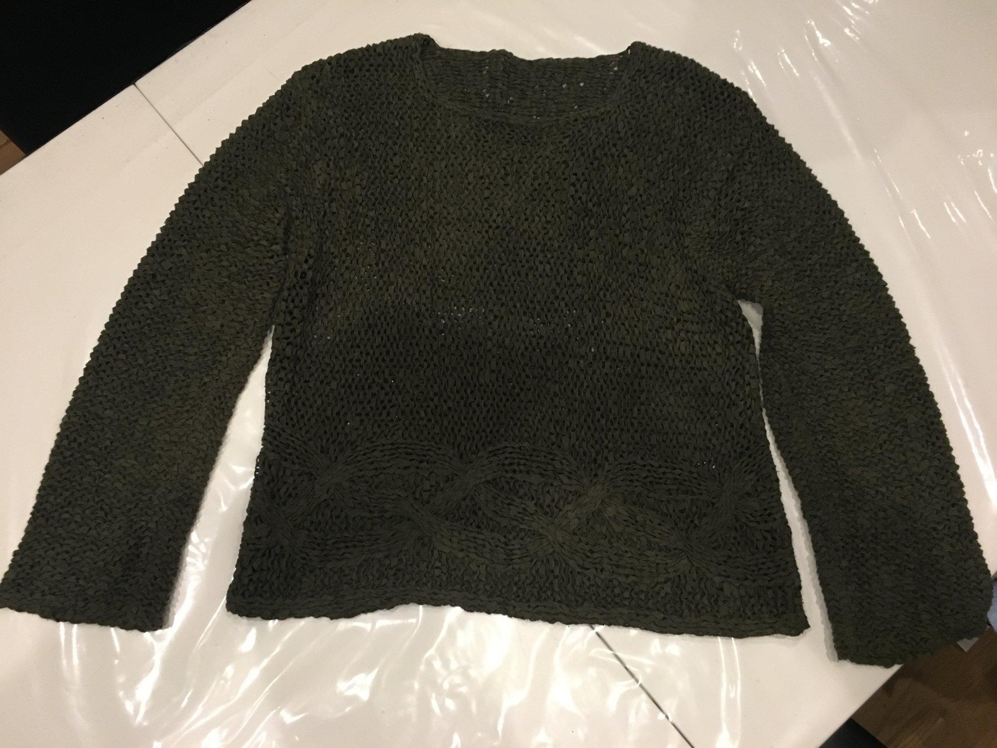 Mörkgrön gles stickad tröja XL stretch grön mil.. (398411939