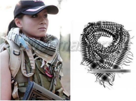 Shemagh Tactical Scarf Halsduk Egyptisk bomull Vit-Svart