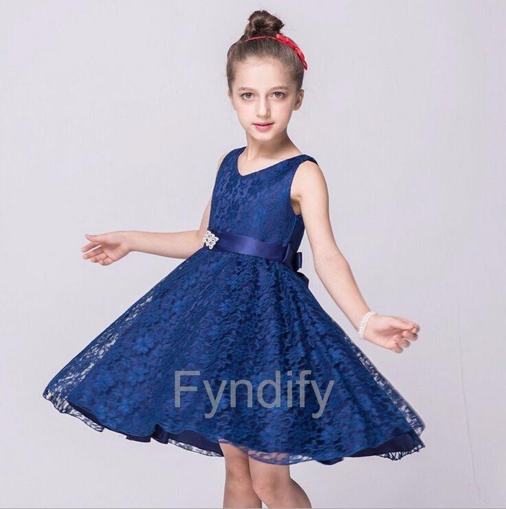 Klänning Barn Mörkblå Strlk ca 160 Flowe.. (288584776) ᐈ Fyndify på ... 2918578d24807