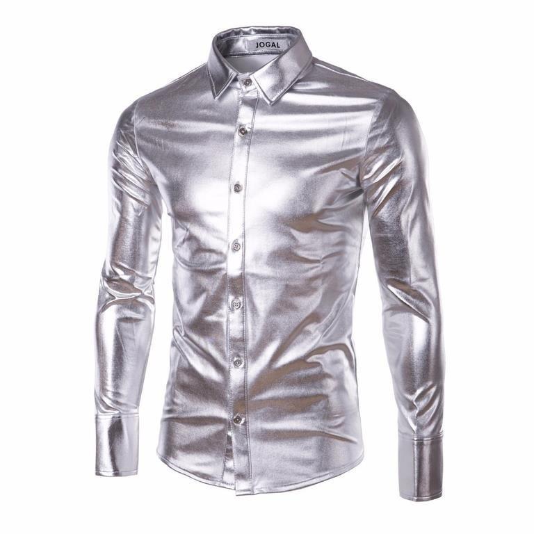 63924d7a6ce4 Skjorta Silver Glansig Disco retro pa.. (256341015) ᐈ Webmasters på ...
