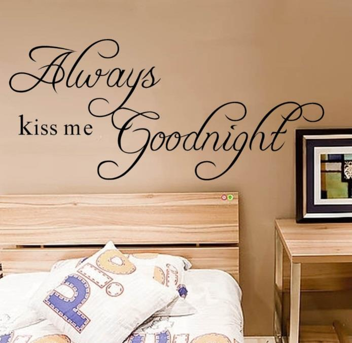 Väggdekor Köket : Väggdekor always kiss me goodnight väggord väggtext på