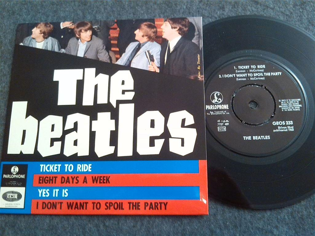 "BEATLES - TICKET TO RIDE - EP/ 7"" - Svensk press"