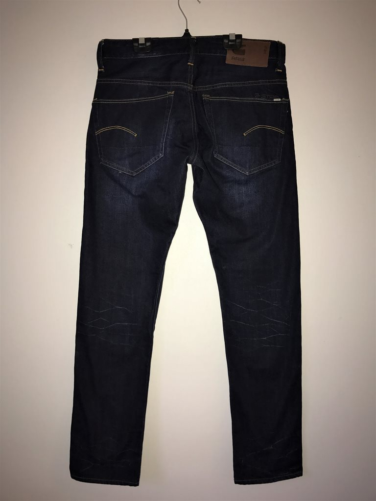 Raw G-Star fri frakt 3301 blå mörka jeans byxor byxa denim tapered W 32 W 32