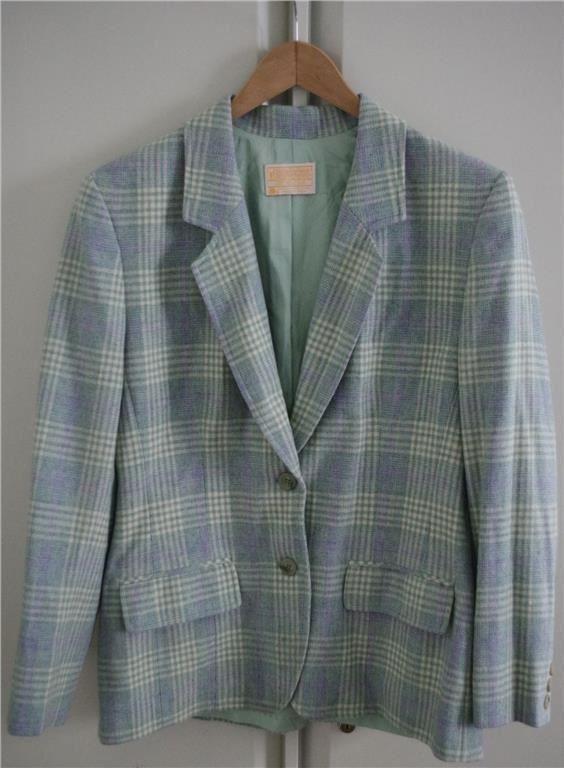 Blå, grön, naturvit tärnad kavaj i ull från Pendleton USA Size 8