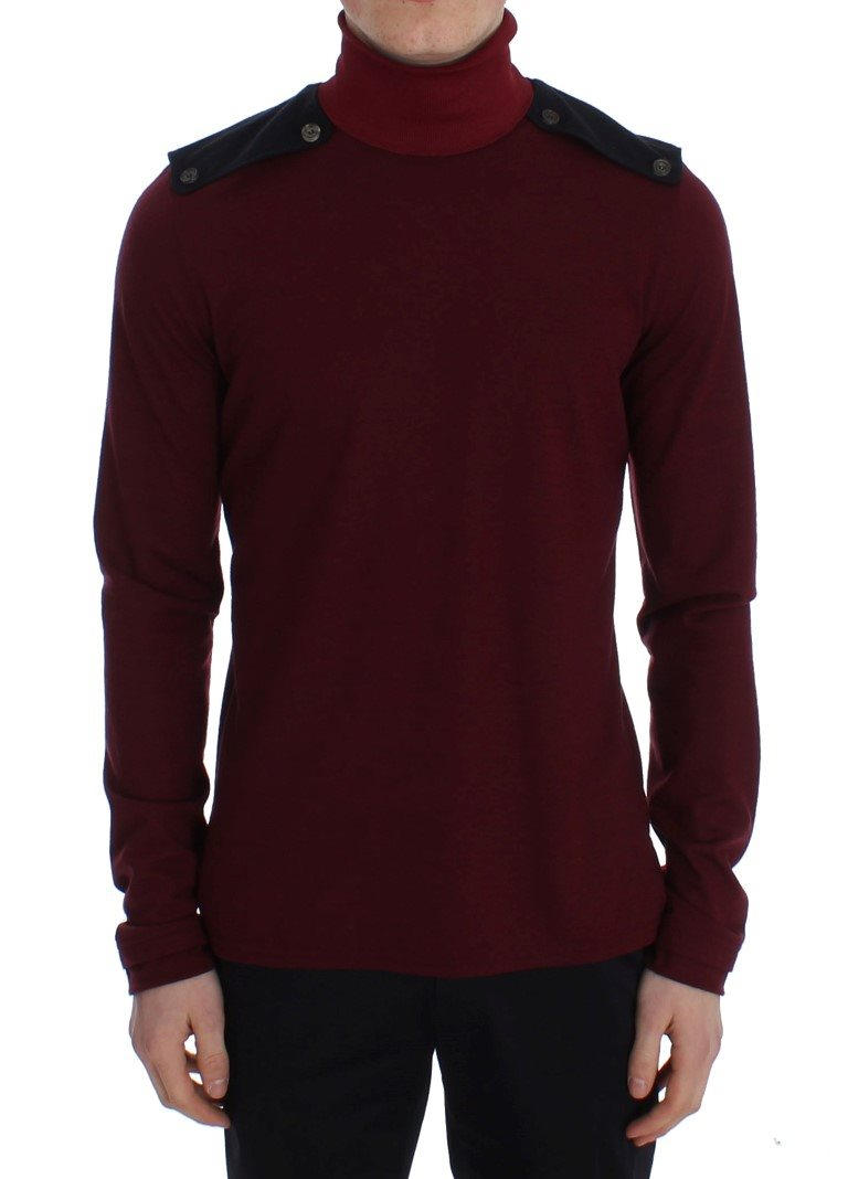 TOMMY HILFIGER - Bordeaux Wool Turtleneck Sweater