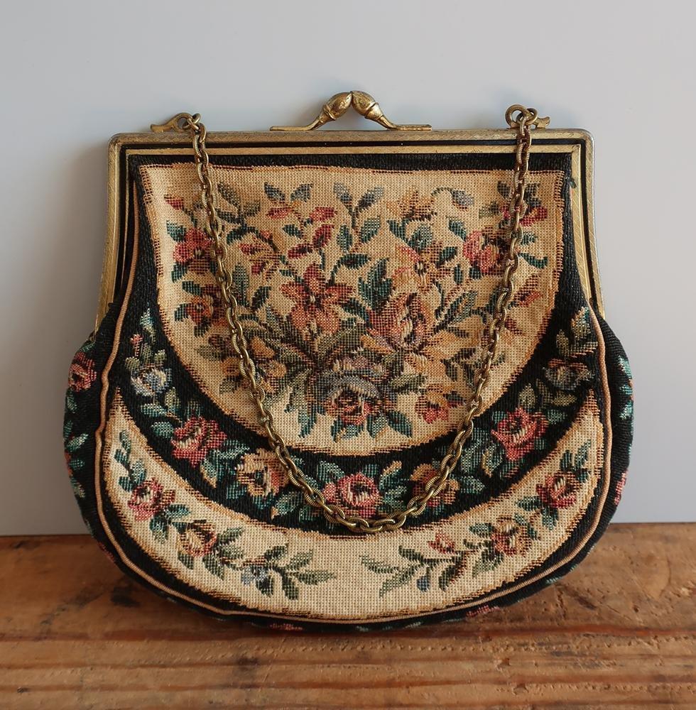 Väska, vintage, broderad