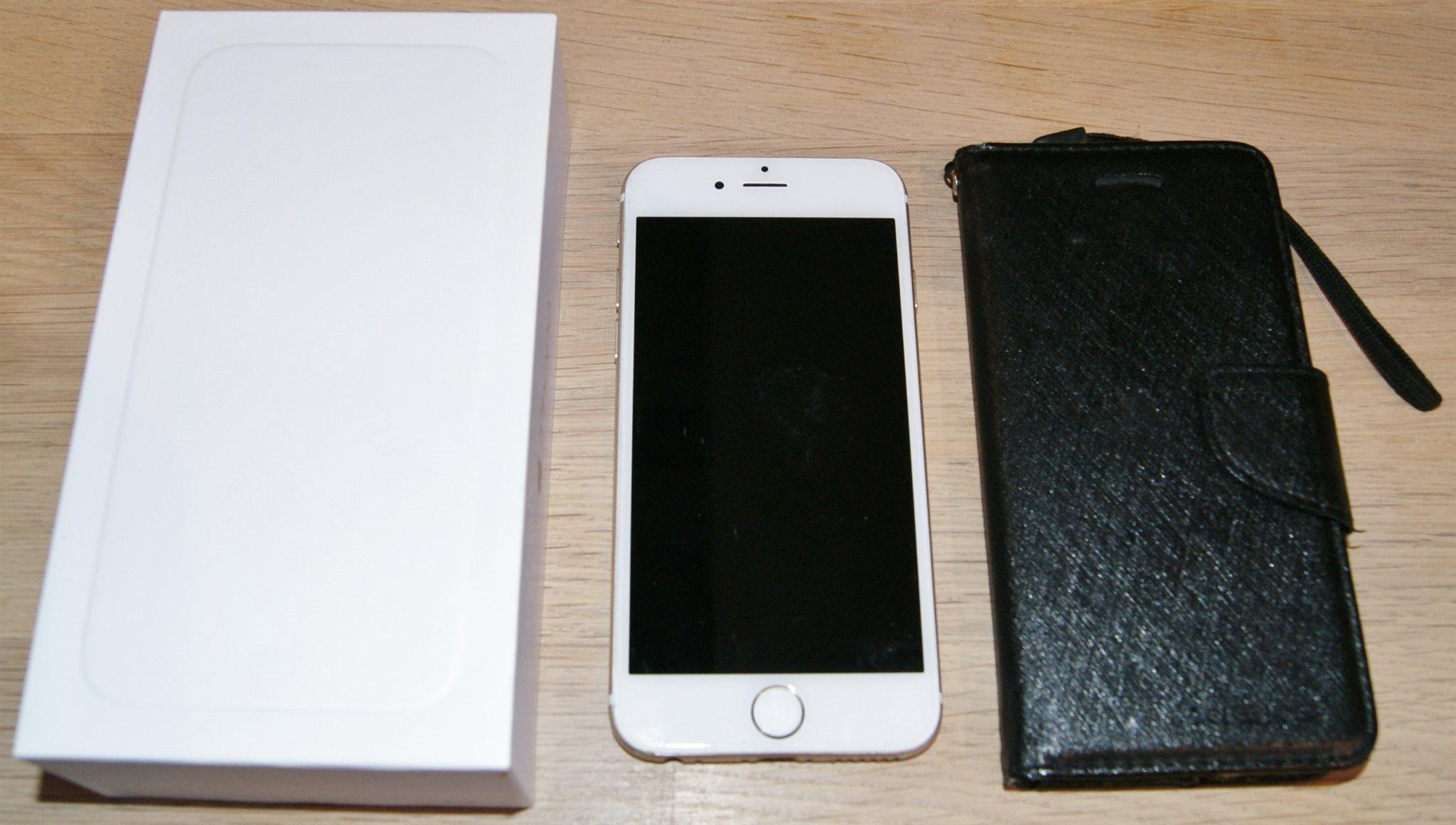 iPhone 6 Gold 16GB mobiltelefon olåst med skal  väska i MYCKET FINT SKICK! efa7c232317ed