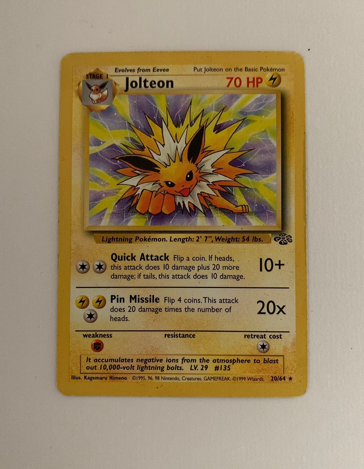 Pokémon Jolteon - 20/64 Djungle - Rare