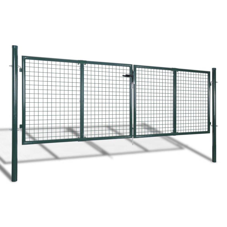 vidaXL Trädgårdsgrind 289x100 cm/306x150 cm stål grön