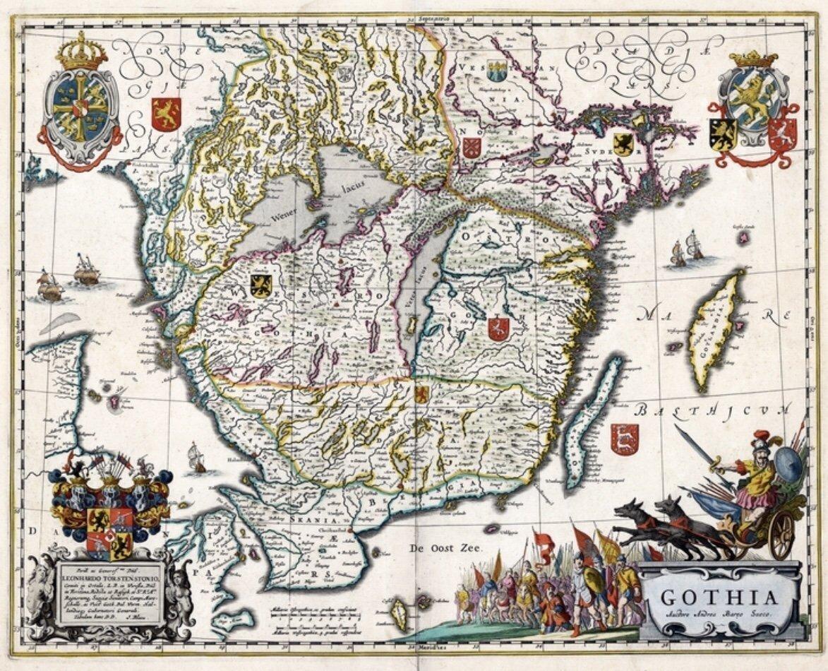 Gothia 1688 Antik Karta Over Sodra Sverige Hall 380503709 ᐈ