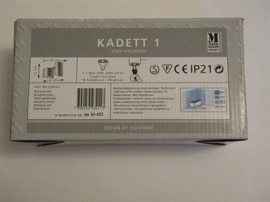 Badrumslampa från Markslöjd, Kadett 1 med eluttag. på Tradera.com -