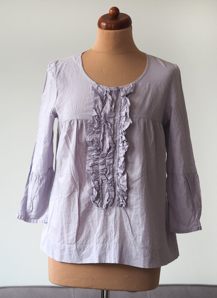 Day Birger Et Mikkelsen lila ruffle blus skjorta tunika retro romantisk M L 67049acdd4614