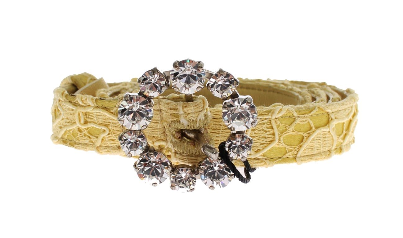 Dolce & Gabbana - Yellow Lace Leather Crystal Buckle Belt