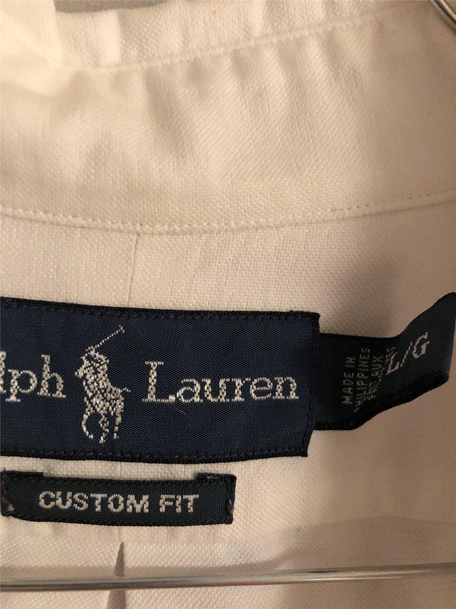 Ralph Lauren Skjorta, Vit, Stl L, Custom Fit