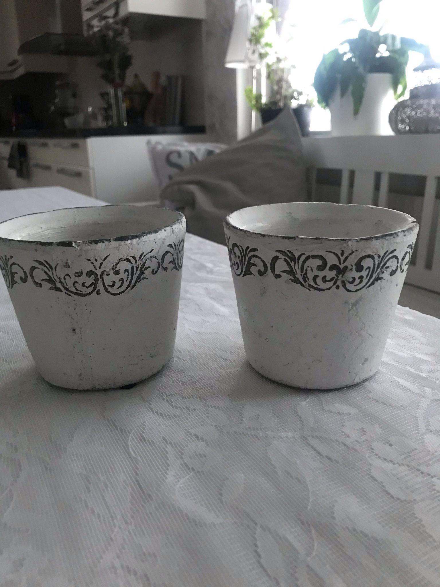 Två små fina vita krukor (338328147) ᐈ Köp på Tradera c2b4f2935edc0