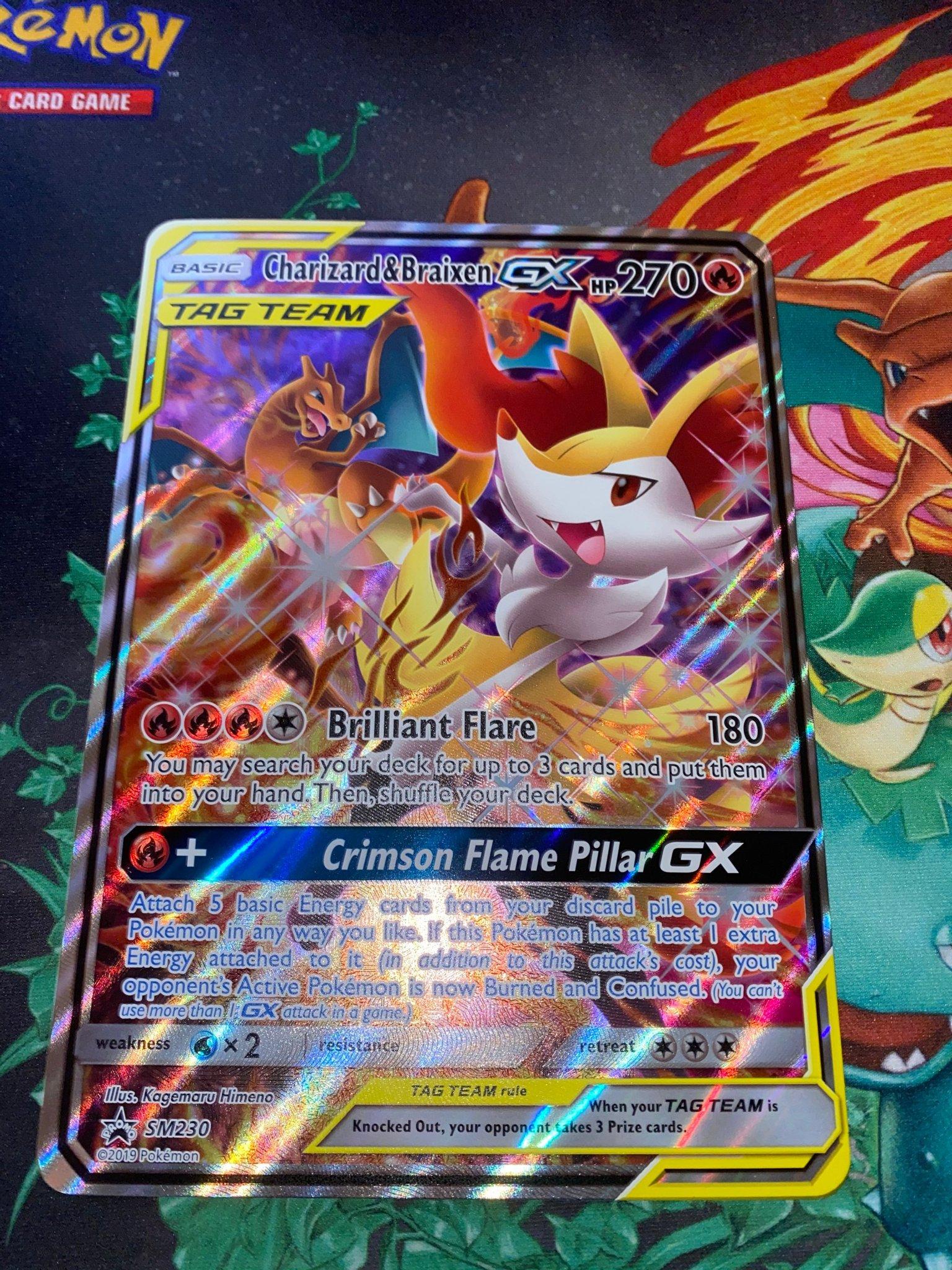 HoloNM EN Charizard /& Braixen GX SM230 Full Art Pokemon Karte Tag Team
