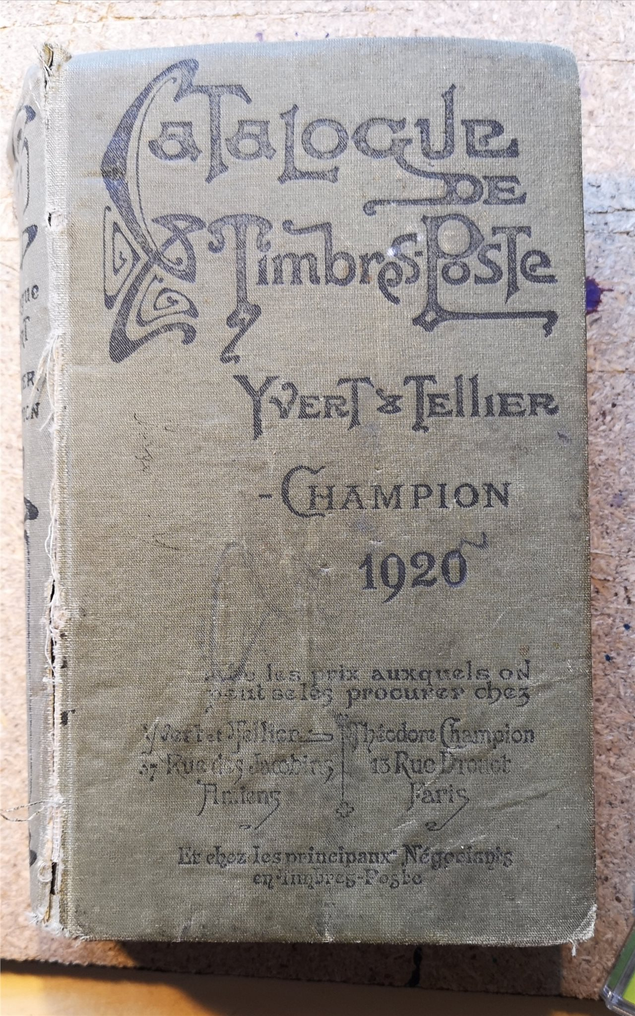 Catalogue de Timbre Post, Yvert et Tellier, Chamion 1920