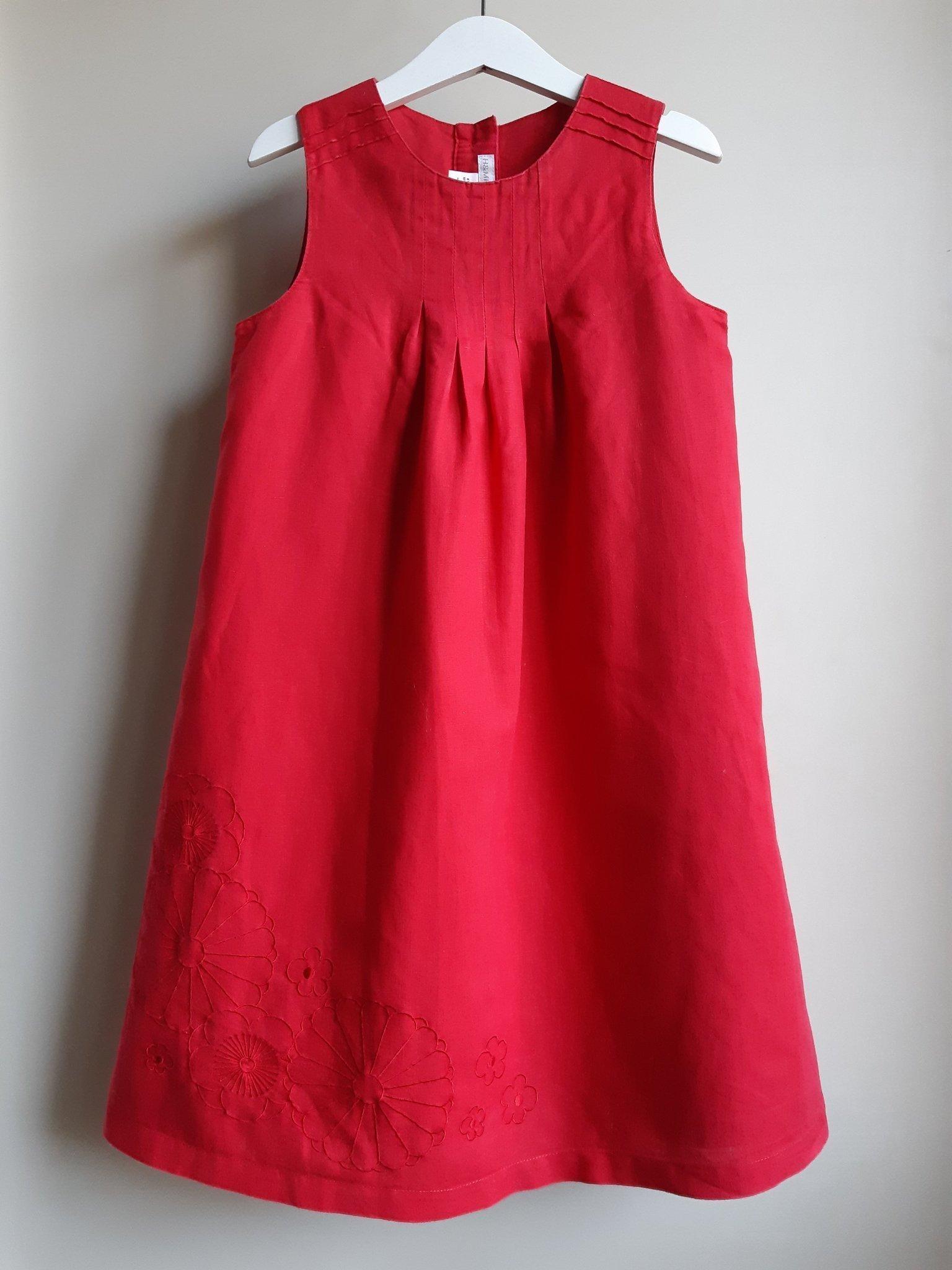 H&M röd klänning brodyr linne stl 122 (398788852) ᐈ Köp på