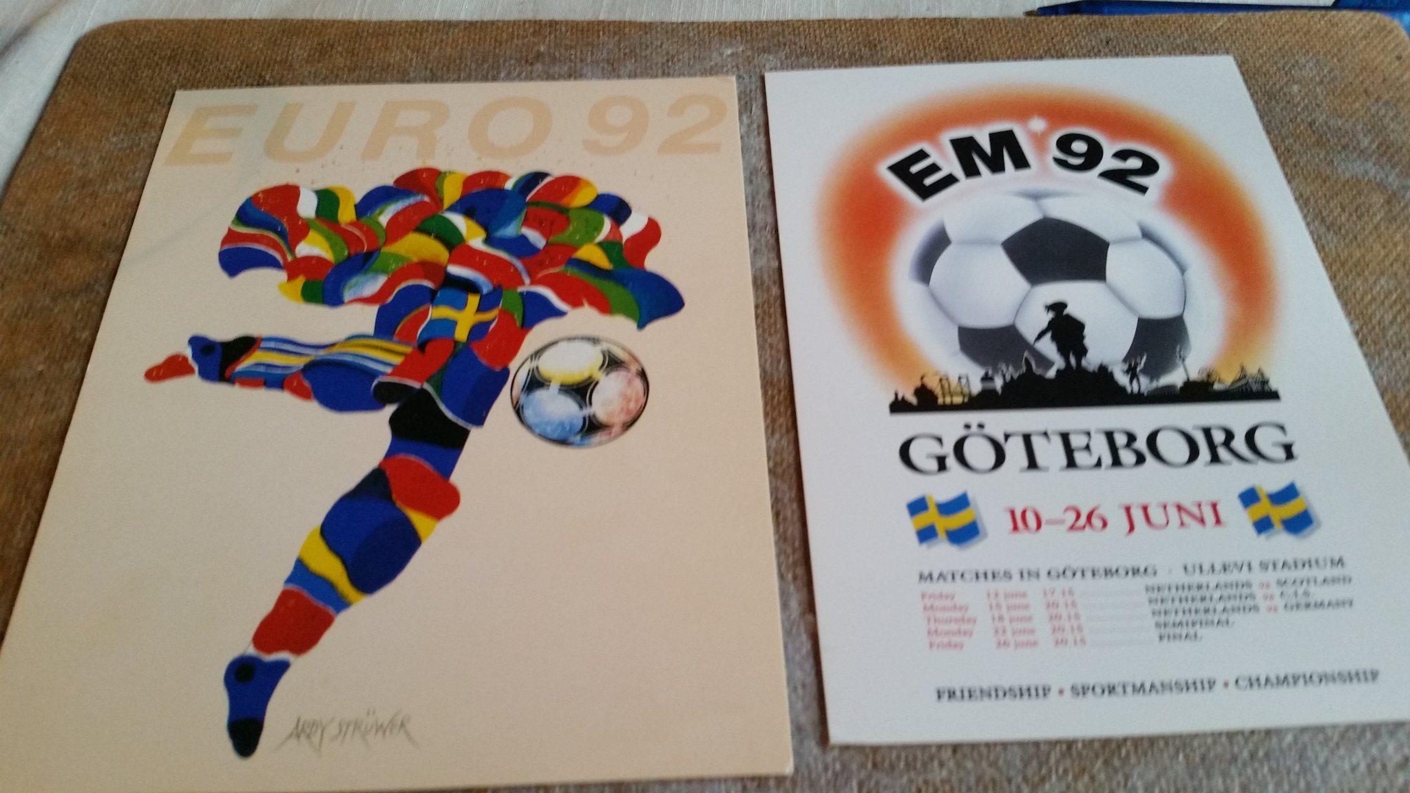 2 vykort från fotbolls EM 1992 Euro 1992 i Sve.. (340597640) ᐈ Köp ... c470ffffe971d