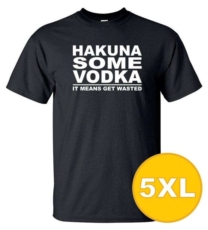 T-shirt Hakuna Some Vodka Svart herr tshirt 5XL