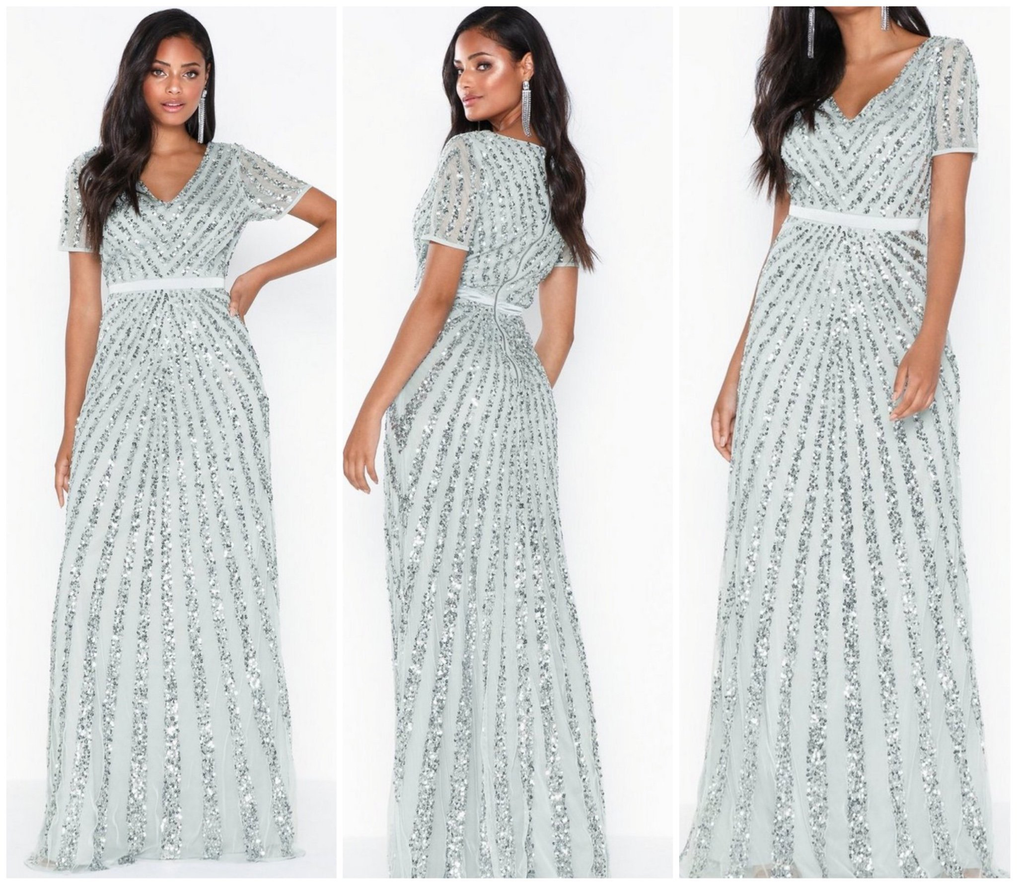 Maya exklusive klänning xl Nelly paljetter silv.. (418129404