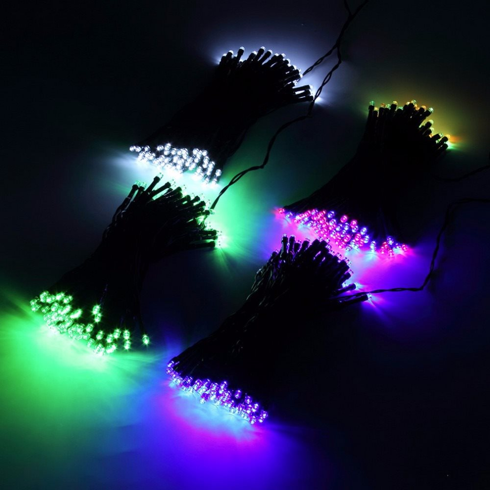 Led-Slinga RGB Ljus Soldriven 100 LED Solenergi Lampor 22M