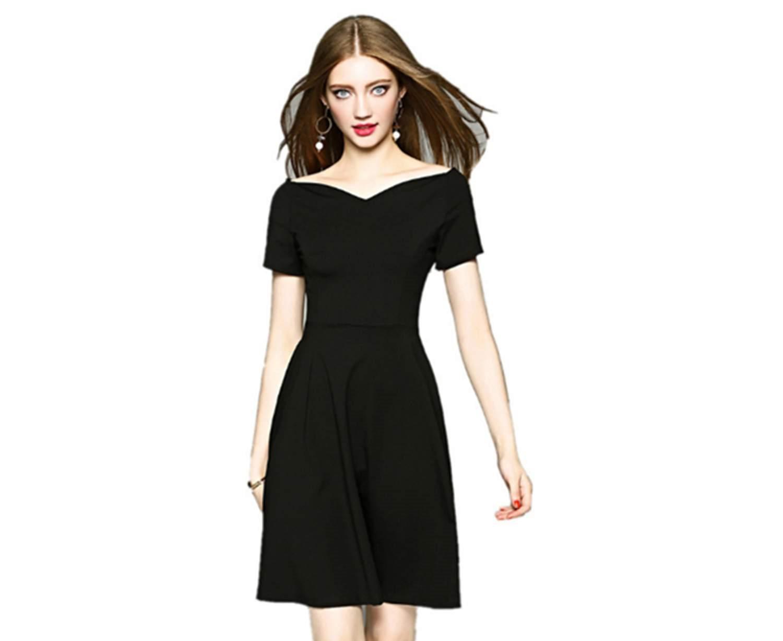 kvinnor kort ärm lilla svarta klänning-Size XL (333160140) ᐈ Köp på ... 310f5a686487a
