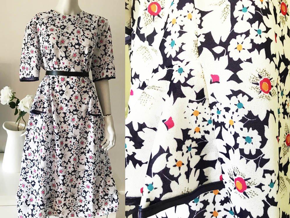 6f4f8c3b52b0 Vintage klänning vit blå blommig rosa gul grön 70-tal 80-tal M L 20 ...