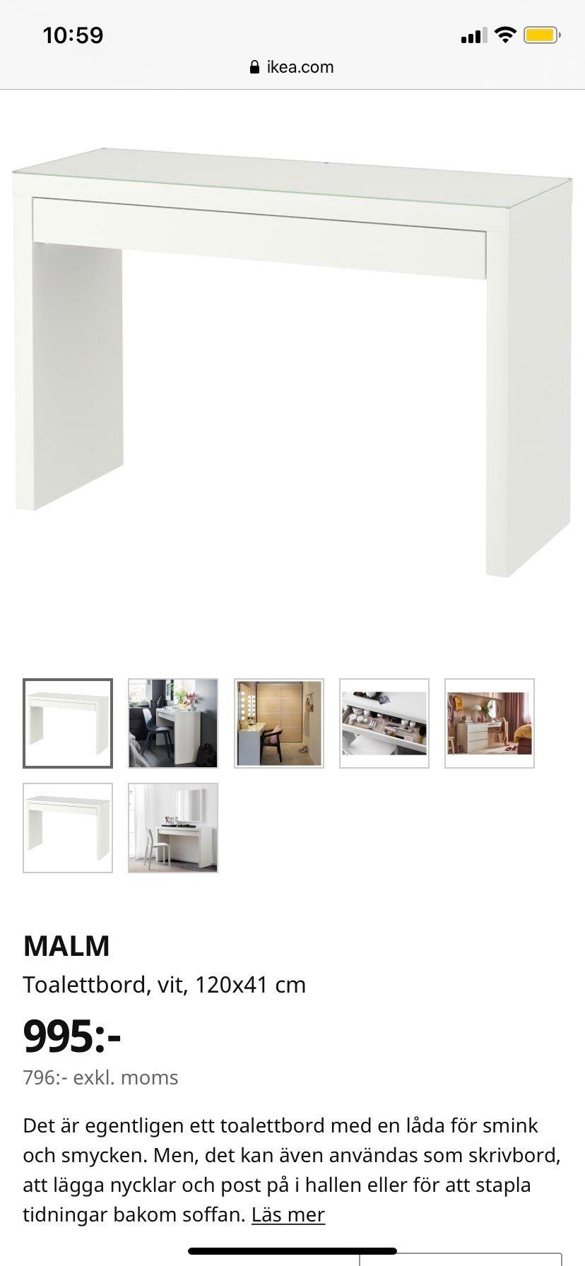 MALM Toalettbord, vit, 120x41 cm IKEA | Toalettbord, Möbel