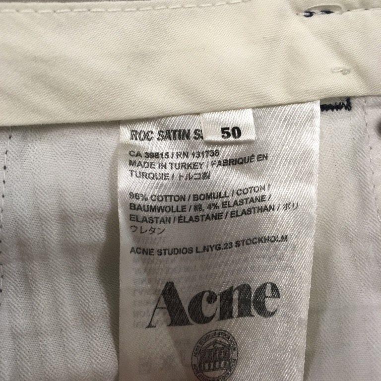 Acne, Acne, Acne, Byxor, Strl: 50, Roc satin SS13, Mörkblå, Bomull e53ad9