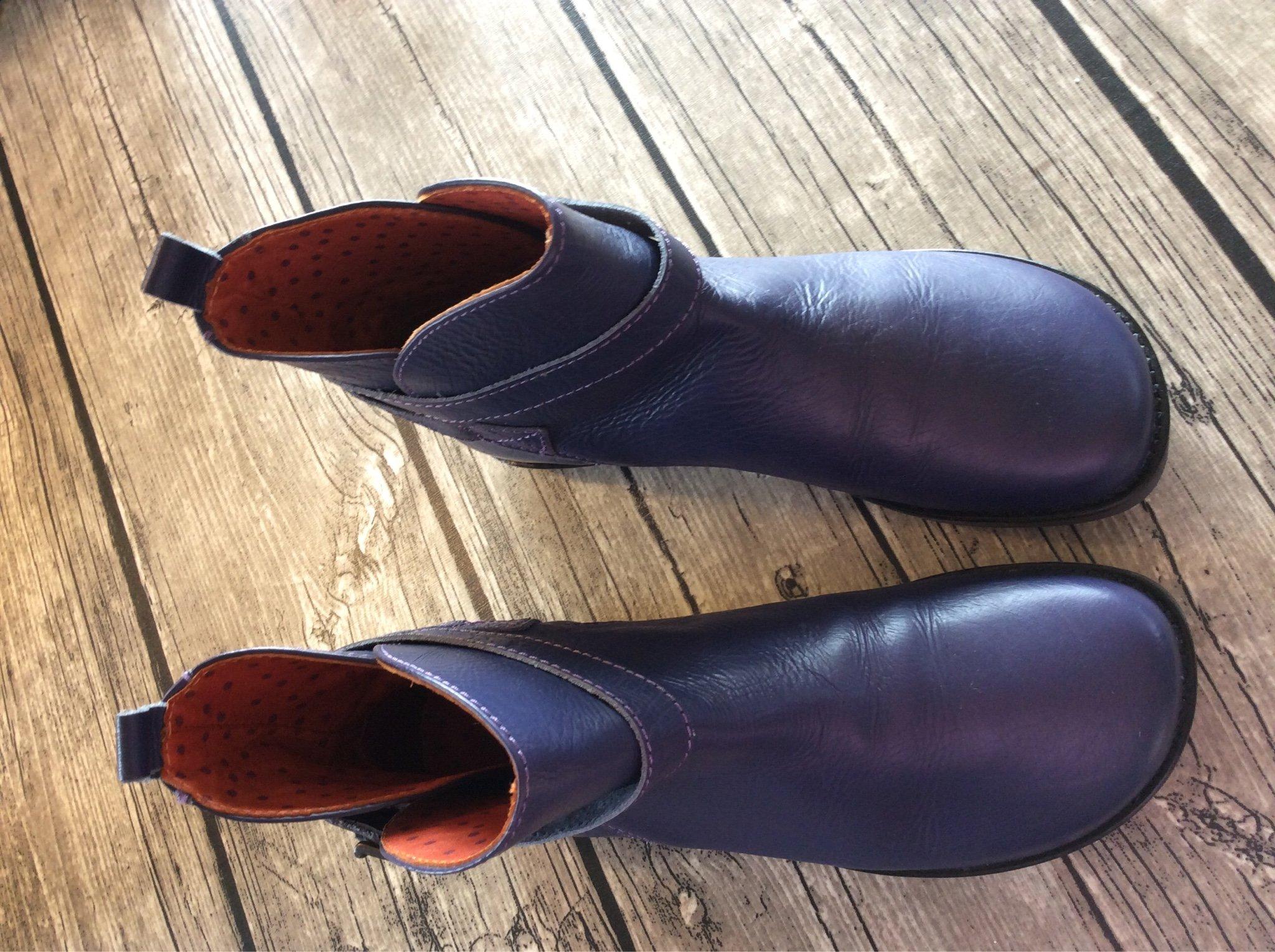 Läckra Gudrun Sjödén kängor skor i äkta skinn, lila. Helt nyaoanvända strl 38