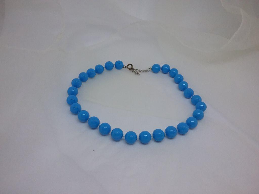 4bc9db232425 Retro smycke bijouteri halsband Rockabilly plastpärlor turkosblå ljusblå