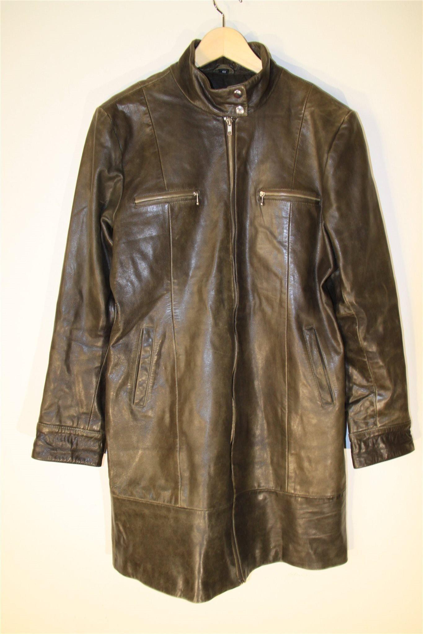 Vintage Saki 2000 Läderjacka Skinnjacka Läder Skinn Jacka Kappa Läderkappa