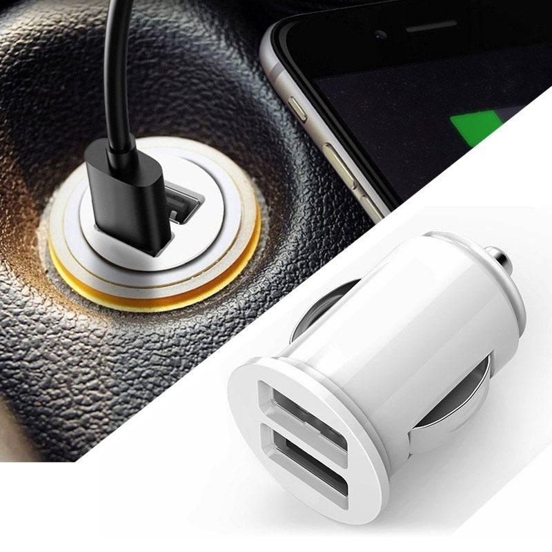 dubbla USB billaddare adapter för IPHONE vit (12V ~ 24V)