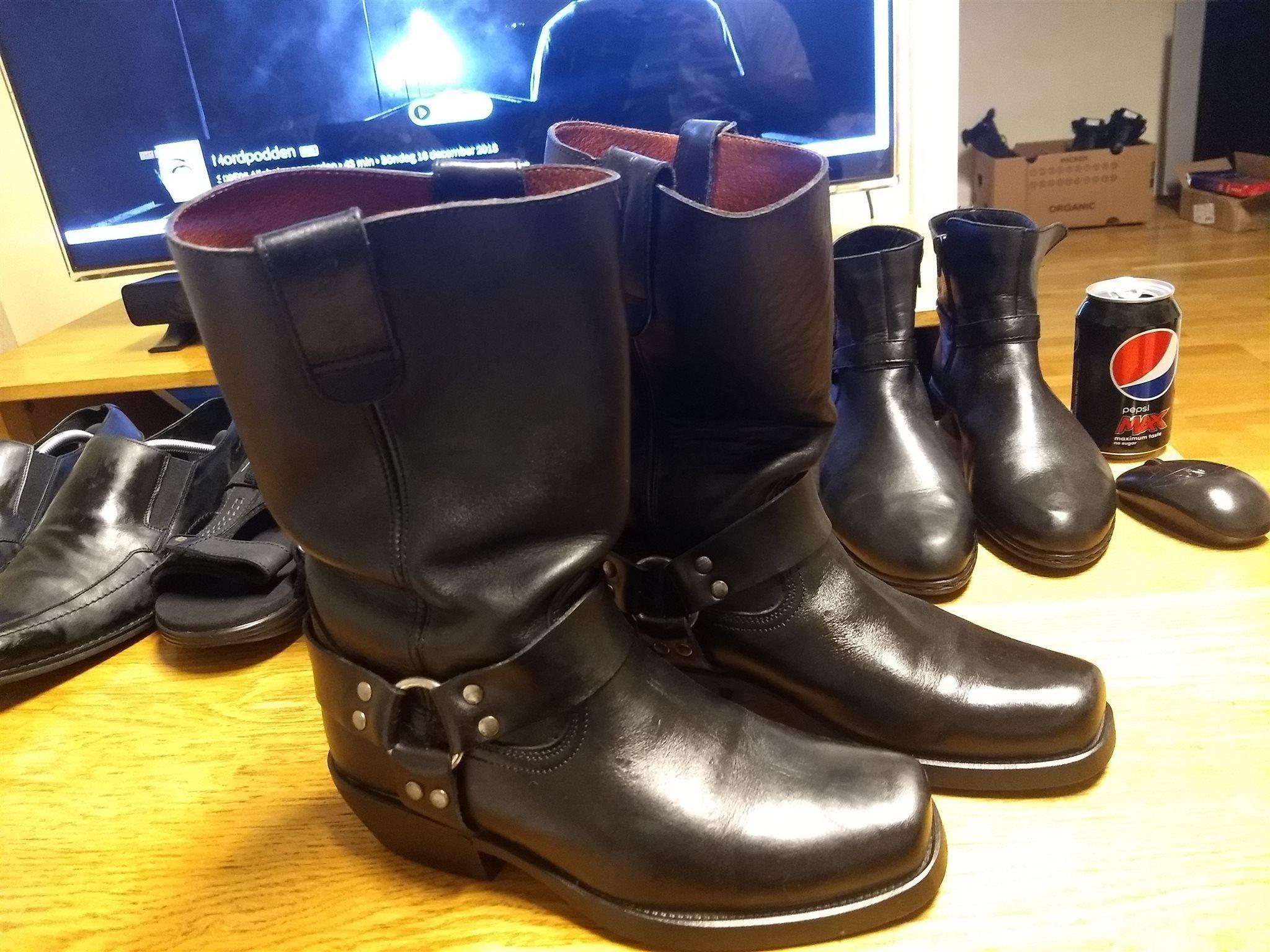 Svarta Falco biker cowboy boots vintage mc punk rock metal skinn l?der 38