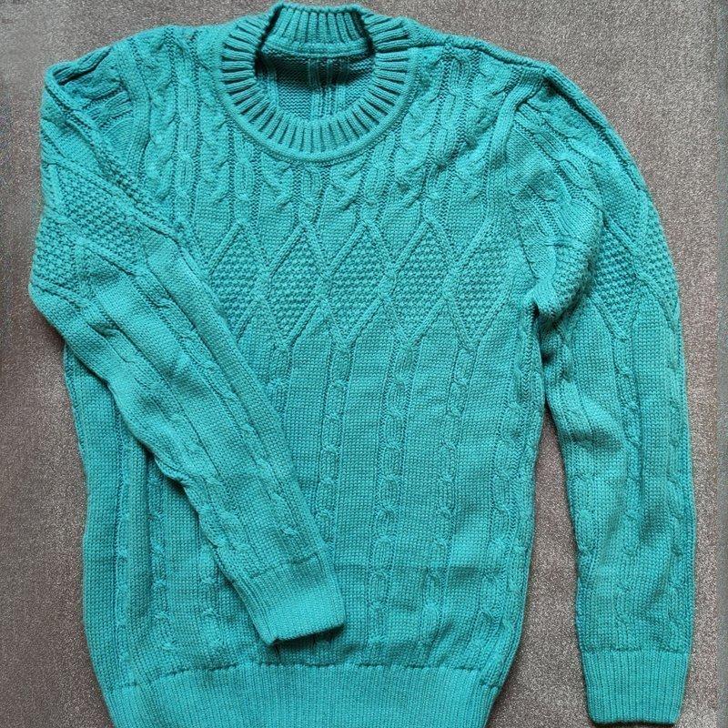 REA! Gotländsk stickad långärmad tröja turkos. 70% ull.