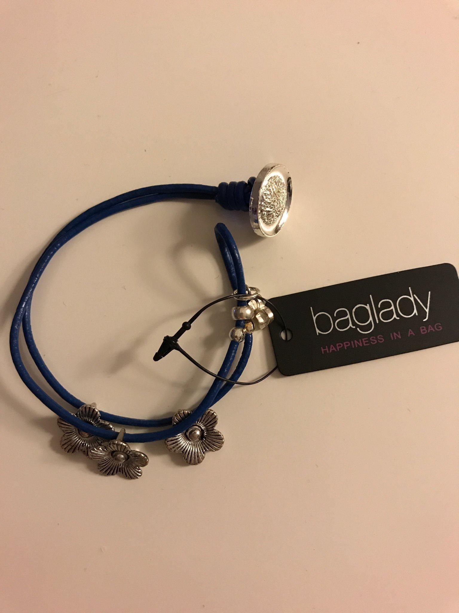 blå baglady armband med blommer (307967444) ᐈ köp på tradera