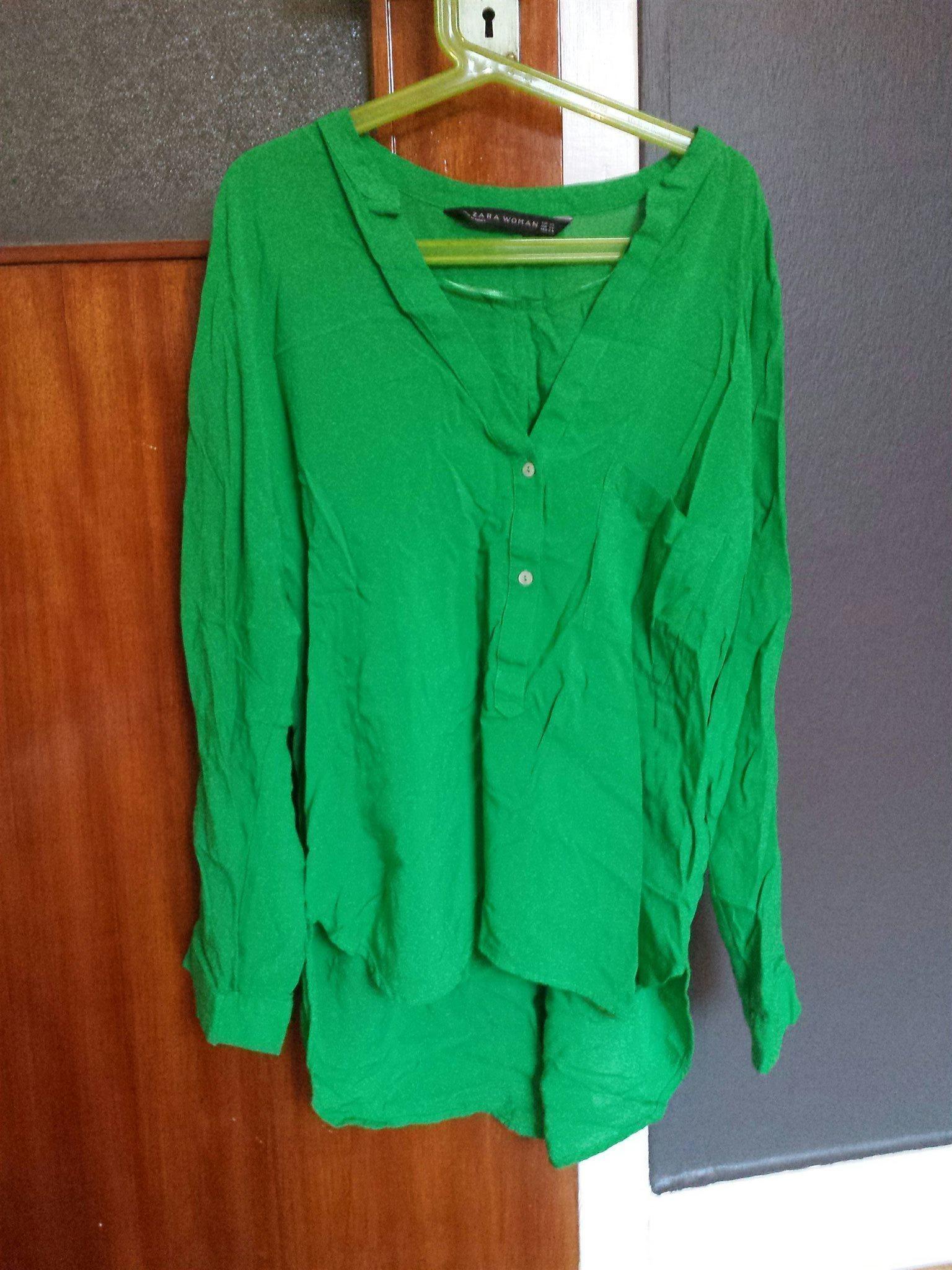 grön blus zara